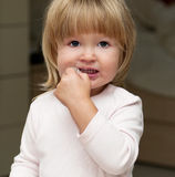 Little girl with pacifier Royalty Free Stock Photo