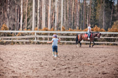 Little girl in paddock Stock Photography