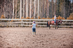 Little girl in paddock royalty free stock photos