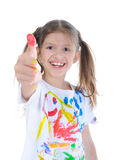 Little girl in a paint Stock Photo