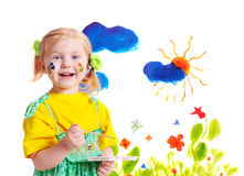 Little girl with paint Stock Photography