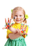 Little girl with paint Stock Photos
