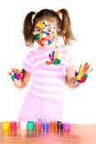 Little girl in paint Stock Image
