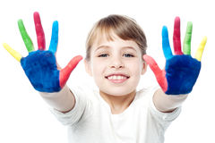 Little girl with painted hands Royalty Free Stock Photo