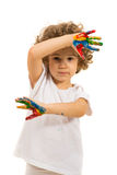 Little girl with painted hands Royalty Free Stock Photography