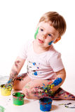 Little Girl Painting. With hands. Isolated on white stock photos