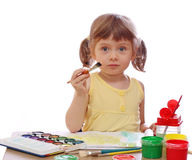 Little girl painting Stock Photos
