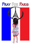 Little girl painting Eiffel Tower logo. Pray for Paris. 13 November Royalty Free Stock Images