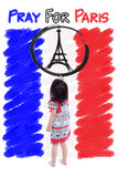 Little girl painting Eiffel Tower logo. Pray for Paris. 13 November Stock Photography