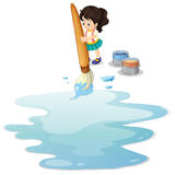 A little girl painting the floor Royalty Free Stock Photography