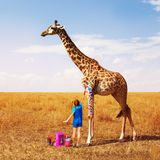 Little girl painting giraffe into many colors. Little girl painting African giraffe into different colors dreaming concept stock photography