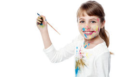 Little girl with painting Stock Photography