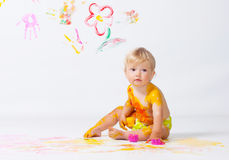Little girl painting in studio Royalty Free Stock Photography