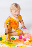 Little girl painting in studio Royalty Free Stock Images