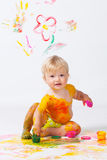Little girl painting in studio Stock Photography