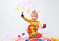 Little girl painting in studio Royalty Free Stock Photo
