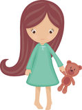 Little girl in pajamas. With teddy bear, isolated Royalty Free Stock Photography