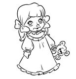 Little girl pajamas coloring pages Stock Photo