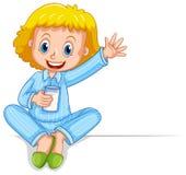 Little girl in pajamas holding glass of milk. Illustration Stock Image