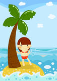 Little girl in palm beach. Illustration about a cute little girl under the sun on the beach of a little palm island Royalty Free Stock Photos