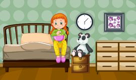 Little girl and panda doll in bedroom. Illustration Stock Image