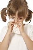 Little girl with paper handkerchief. Portrait of little girl with handkerchief  - allergy Stock Image