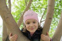 Portrait of little girl in park stock images