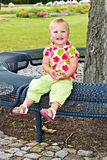 Little girl on a park Bench Royalty Free Stock Photos