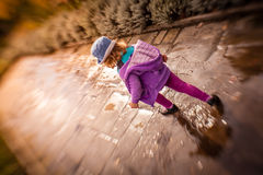 Little girl park walk Royalty Free Stock Images