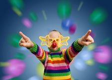 Little girl in party glasses Royalty Free Stock Photos