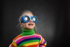 Little girl in party glasses Royalty Free Stock Image