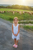 Little girl on pastures with sheep Royalty Free Stock Photography