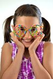 Little Girl with Peace Glasses Royalty Free Stock Photos