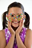 Little Girl with Peace Glasses Stock Photo