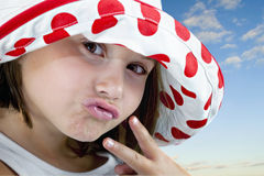 Little Girl with Peace Sign Royalty Free Stock Photo