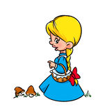 Little girl  peasant cartoon Stock Image