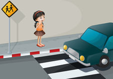 A little girl at the pedestrian lane Stock Photography