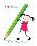 The little girl with a pencil. Royalty Free Stock Images
