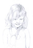 Little girl - pencil drawing. Portrait of a little girl with stuffed monkey around her neck Royalty Free Stock Images