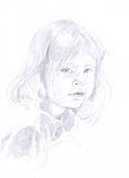 Little girl - pencil drawing. Browsing a little girl in the mirror. Pencil Royalty Free Stock Photos