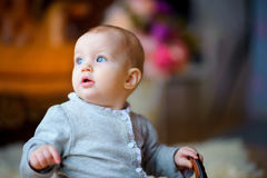 Little girl with a pensive look Stock Photo