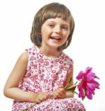 Little girl with peony flower Royalty Free Stock Photography