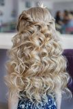 Little girl with perfect hairstyle curl hair Royalty Free Stock Images
