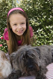 Little Girl With Pets Royalty Free Stock Photos