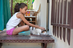 Little girl petting a cat Royalty Free Stock Images