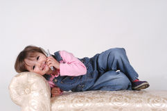 Little Girl on Phone. 3-year-old talking on cell phone Stock Photos