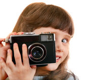 Little Girl with Photo Camera Stock Photos