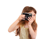 Little Girl with Photo Camera Stock Photo