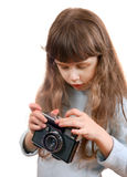 Little Girl with Photo Camera Royalty Free Stock Images