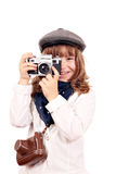 Little girl photographer with old camera Stock Image